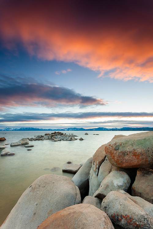 """Tahoe Boulders at Sunset 10"" - Photographs of boulders and Lake Tahoe shot at Speedboat Beach in North Lake Tahoe."