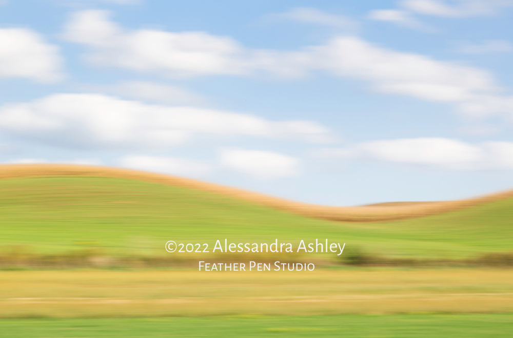 Rolling hills of Amish countryside in early autumn, Holmes County, Ohio. Enhanced with in-camera pan blur.
