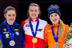 12-01-2019 NED: ISU European Short Track Championships 2019 day 2, Dordrecht<br /> Bronze medal Lara van Ruijven #16 NED 500m, Gold Natalia Maliszewska #6 POL, Martina Valcepina #10 ITA