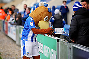 Colchester mascot Eddie the Eagle signing autographs before the EFL Sky Bet League 2 match between Colchester United and Morecambe at the JobServe Community Stadium, Colchester, England on 29 December 2018.