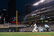 Aaron Hicks #32 of the Minnesota Twins bats against the Milwaukee Brewers on May 29, 2013 at Target Field in Minneapolis, Minnesota.  The Twins defeated the Brewers 4 to 1.  Photo: Ben Krause