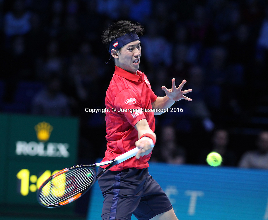 KEI NISHIKORI (JPN)), ATP World Tour Finals, O2 Arena, London, England.<br /> <br /> Tennis - ATP World Tour Finals 2016 - ATP -  O2 Arena - London -  - Great Britain  - 16 November 2016. <br /> &copy; Juergen Hasenkopf/Grieves