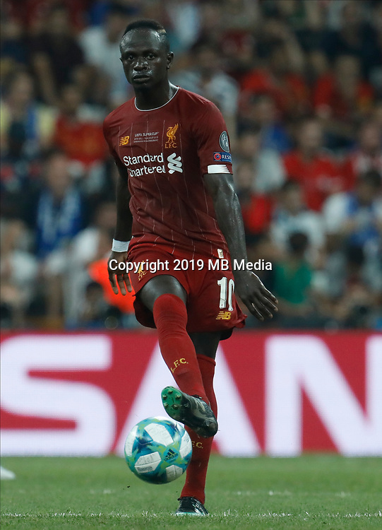 ISTANBUL, TURKEY - AUGUST 14: Sadio Mane of Liverpool in action during the UEFA Super Cup match between Liverpool and Chelsea at Vodafone Park on August 14, 2019 in Istanbul, Turkey. (Photo by MB Media/Getty Images)