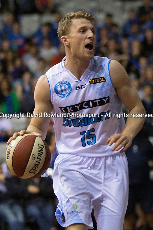 Breakers` Rhys Carter in the SkyCity Breakers v Cairns Taipans, 2014/15 ANBL Basketball Season, North Shore Events Centre, Auckland, New Zealand, Thursday, October 23, 2014. Photo: David Rowland/Photosport