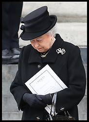 The Queen leaving  Baroness Thatcher's funeral at    St.Paul's Cathedral in London , Wednesday 17th  April 2013 Photo by: Stephen Lock / i-Images<br /> <br /> File photo - One year ago: Baroness Thatcher died.<br /> On Tue, Apr 8 2014 it will be one year since the Longest-serving UK Prime Minister of the 20th century, the first and only woman to serve in the role to date, died on April 8, 2013  after suffering a stroke.