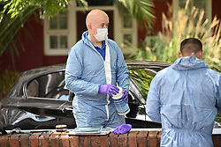 © Licensed to London News Pictures. 12/07/2020. London, UK. Police forensics at The scene of a murder on the Black Prince Estate in Kennington South London in which a man, believed to be in his 30s, was stabbed to death late last night . Photo credit: Ben Cawthra/LNP