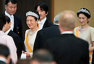 29-10-2014 - TOKIO -  State Dinner in the Imperial Palace king Willem alexander and queen Maxima  meet Emperor Akihito and Empress Michiko and Crown Princess Masako, Crown Prince Naruhito  during a 3 days State visit of king Willem alexander and queen Maxima to Japan.  COPYRIGHT ROBIN UTRECHT