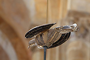Part of the reliquary in the form of a dove, by Goudji, French sculptor and goldsmith, b. 1941, commissioned by the Communaute des Premontres de Conques, installed and blessed 12th October 2014, suspended between the columns of the apse in the Abbatiale Sainte-Foy de Conques or Abbey-church of Saint-Foy, Conques, Aveyron, Midi-Pyrenees, France, a Romanesque abbey church begun 1050 under abbot Odolric to house the remains of St Foy, a 4th century female martyr. The reliquary is illuminated at night and invites prayer for persecuted Christians and hostages. The church is on the pilgrimage route to Santiago da Compostela, and is listed as a historic monument and a UNESCO World Heritage Site. Picture by Manuel Cohen. - Further clearance required, please contact us