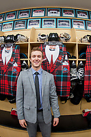KELOWNA, CANADA - MARCH 10: Gordie Ballhorn #4 of the Kelowna Rockets stands in front of his locker in the dressing room on March 10, 2018 at Prospera Place in Kelowna, British Columbia, Canada.  (Photo by Marissa Baecker/Shoot the Breeze)  *** Local Caption ***