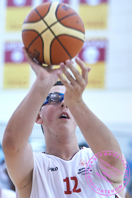 Damian Laskowski SO Poland athlete in action while basketball match SO Poland v SO Canada during second day of the Special Olympics World Games Los Angeles 2015 on July 26, 2015 on Galen Center at University of Southern California in Los Angeles, USA.<br /> USA, Los Angeles, July 26, 2015<br /> <br /> Picture also available in RAW (NEF) or TIFF format on special request.<br /> <br /> For editorial use only. Any commercial or promotional use requires permission.<br /> <br /> Adam Nurkiewicz declares that he has no rights to the image of people at the photographs of his authorship.<br /> <br /> Mandatory credit:<br /> Photo by &copy; Adam Nurkiewicz / Mediasport
