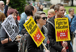 """© Licensed to London News Pictures.  10/06/2017; Bristol, UK. General Election 2017; """"May Must Go Now! Bristol March For Our Future"""", rally on College Green, calling on the Prime Minister Theresa May to resign following the general election 2 days ago and the outcome of a hung parliament with the Conservatives having no overall majority and Theresa May seeking to do a deal with the DUP. The event was originally called before polling day on the themes of """"Bristol March for our Future"""", """"No more cuts to Health, Schools, care for the elderly and disabled. No to attempts to divide us through racism."""" The event is supported by North Somerset National Union of Teachers, Bristol and District Anti Cuts Alliance, No to Bristol School Budget Cuts, Protect Our NHS, Fair Funding For Schools, Bristol Stand Up To Racism, Bristol Unite Composite Branch S/W. Picture credit : Simon Chapman/LNP"""