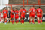 Sheffield Eagles wing Garry Lo (2) scores a try and celebrates to make the score 16-16 during the Kingstone Press Championship match between Sheffield Eagles and Bradford Bulls at, The Beaumont Legal Stadium, Wakefield, United Kingdom on 3 September 2017. Photo by Simon Davies.