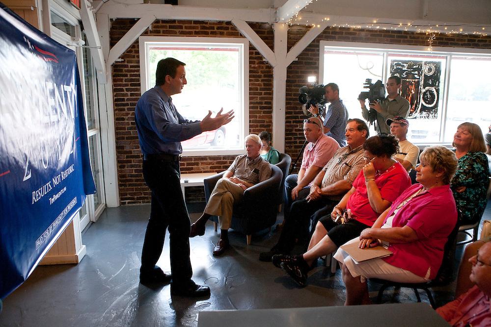 Republican presidential hopeful Tim Pawlenty campaigns on Tuesday, July 26, 2011 in Ottumwa, IA.