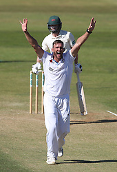 Derbyshire bowler Hardus Viljoen appeals LBW and he celebrates talking the wicket of Leicestershire opening batsman Paul Horton out for 88 during day two of the Specsavers County Championship Division Two match at the 3aaa County Ground, Derby.