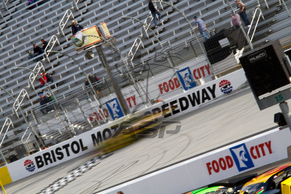 BRISTOL, TN - MAR 19, 2011:  The NASCAR Nationwide Series teams take to the track for the Scotts EZ Seed 300 qualifying session at the Bristol Motor Speedway in Bristol, TN.