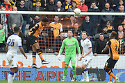 Hull City striker Chuba Akpom (19) heads ball clear of goal  during the Sky Bet Championship match between Hull City and Leeds United at the KC Stadium, Kingston upon Hull, England on 23 April 2016. Photo by Ian Lyall.