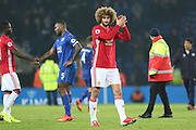 Marouane Fellaini Midfielder of Manchester United applauds the fans at the end during the Premier League match between Leicester City and Manchester United at the King Power Stadium, Leicester, England on 5 February 2017. Photo by Phil Duncan.