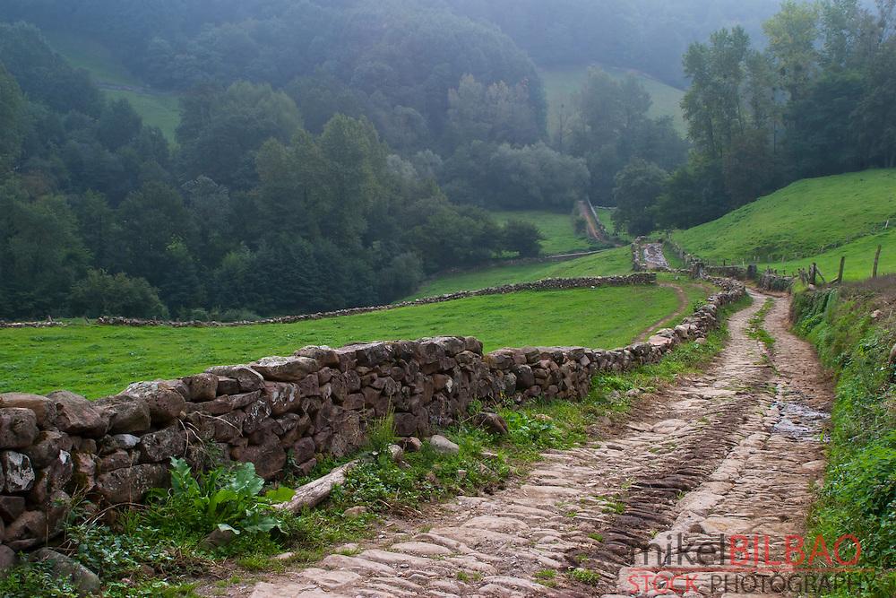Route to Xorroxin waterfall.<br /> Erratzu village. Baztan Valley, Navarre, Spain.