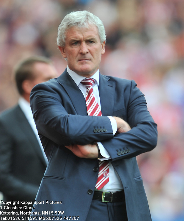 MARK HUGHES MANAGER STOKE CITY, Stoke City v Liverpool, Premiership, Britannia Stadium Sunday 9th August 2015