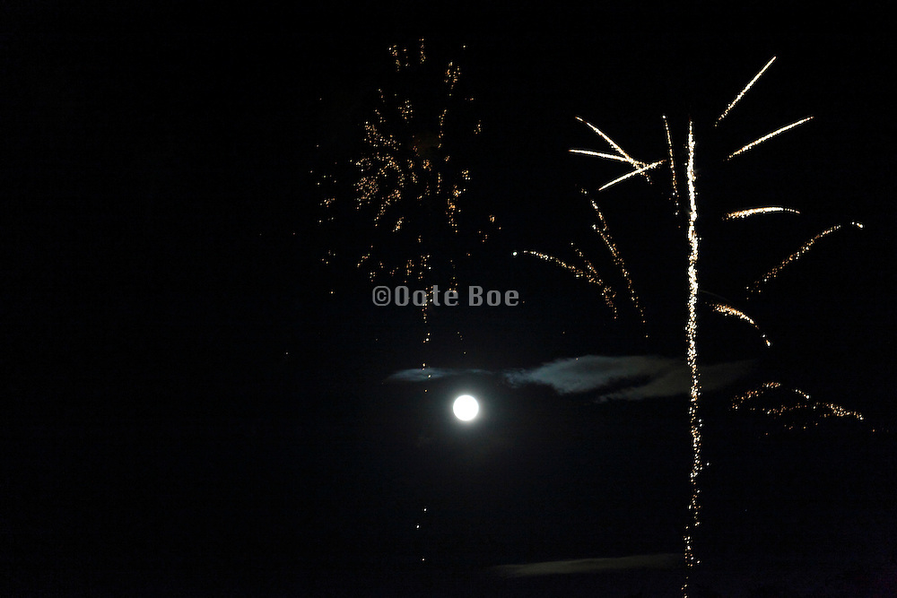 fireworks and full moon and cloud