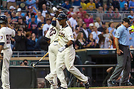 Aaron Hicks #32 of the Minnesota Twins celebrates with Pedro Florimon #25 after hitting a home run against the Milwaukee Brewers on May 29, 2013 at Target Field in Minneapolis, Minnesota.  The Twins defeated the Brewers 4 to 1.  Photo: Ben Krause