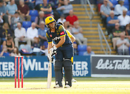 Glamorgan's Chris Cooke asks the umpire for his guard <br /> <br /> Photographer Simon King/Replay Images<br /> <br /> Vitality Blast T20 - Round 8 - Glamorgan v Gloucestershire - Friday 3rd August 2018 - Sophia Gardens - Cardiff<br /> <br /> World Copyright © Replay Images . All rights reserved. info@replayimages.co.uk - http://replayimages.co.uk