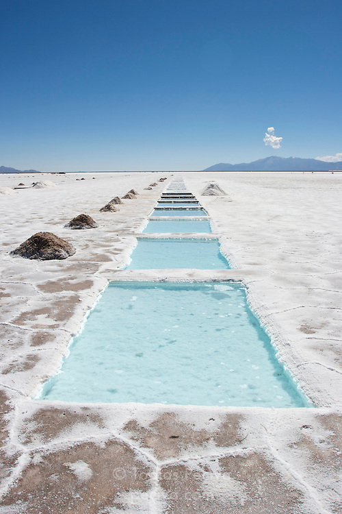 Evaporation ponds at a small salt mine in the Salinas Grandes salt flats, northern Argentina.