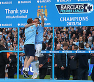 Martin De Michelis of Manchester City celebrates winning the  Barclays Premier League at the Etihad Stadium, Manchester<br /> Picture by John Rainford/Focus Images Ltd +44 7506 538356<br /> 11/05/2014