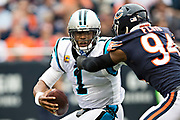 CHICAGO, IL - OCTOBER 22:  Cam Newton #1 of the Carolina Panthers is sacked by Leonard Floyd #94 of the Chicago Bears at Soldier Field on October 22, 2017 in Chicago, Illinois.  The Bears defeated the Panthers 17-3.  (Photo by Wesley Hitt/Getty Images) *** Local Caption *** Cam Newton; Leonard Floyd