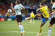 Sweden FW Zlatan Ibrahimović (C) (10) shoots during the Euro 2016 match between Sweden and Belgium at Stade de Nice, Nice, France on 22 June 2016. Photo by Andy Walter.