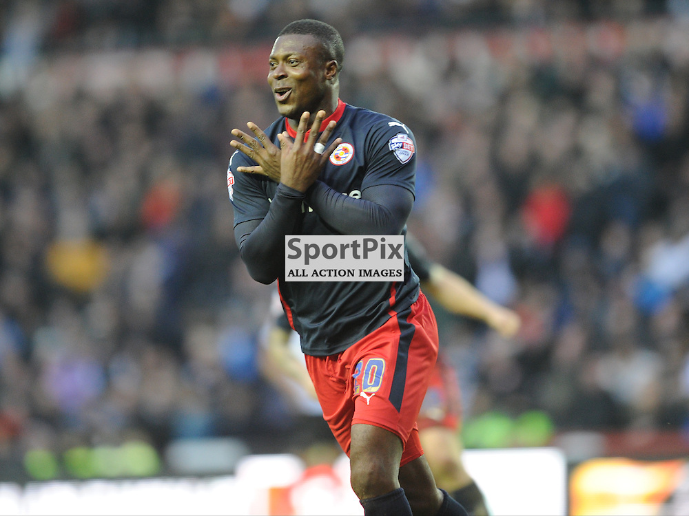 Yakubu Celebrates after Scoring Readings Second and Winning Goal at Derby, Derby County v Reading, FA Cup, Pride Park Saturday 14th Febuary 2015