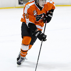 Whitby, ON - Feb 11 : Ontario Junior Hockey League game action between the Whitby Fury and the Orangeville Flyers. Orangeville Flyers Nick Connell #26  skates with the puck during first period game action.<br /> (Photo by Tim Bates / OJHL Images)