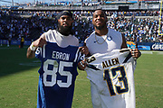 Sep 8, 2019; Carson, CA, USA; Los Angeles Chargers wide receiver Keenan Allen (left) and Indianapolis Colts tight end Eric Ebron pose after exchanging jerseys after the game at Dignity Health Sports Park. The Chargers defeated the Colts 30-24 in overtime.