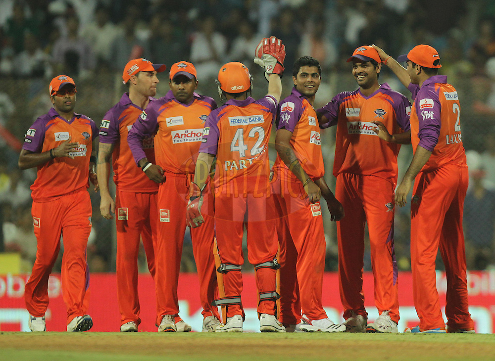 Team Kochi Tuskers Kerala team celebrates during  match 10 of the Indian Premier League ( IPL ) Season 4 between the Pune Warriors and the Kochi Tuskers Kerala held at the Dr DY Patil Sports Academy, Mumbai India on the 13th April 2011..Photo by BCCI/SPORTZPICS
