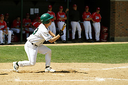 21 April 2007: Mike Cunningham squares to bunt. Carthage College loses the first game of a double header by a score of 5-2 against the Illinois Wesleyan Titans.