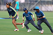 Indian players warm up before the start of the match the third women's one day International ( ODI ) match between India and Australia held at the Reliance Cricket Stadium in Vadodara, India on the 18th March 2018<br /> <br /> Photo by Vipin Pawar / BCCI / SPORTZPICS