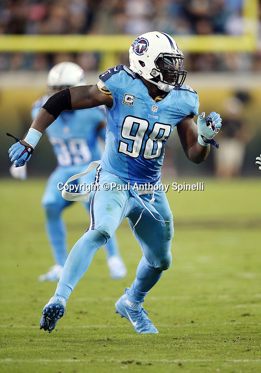 Tennessee Titans outside linebacker Brian Orakpo (98) chases the action during the 2015 week 11 regular season NFL football game against the Jacksonville Jaguars on Thursday, Nov. 19, 2015 in Jacksonville, Fla. The Jaguars won the game 19-13. (©Paul Anthony Spinelli)