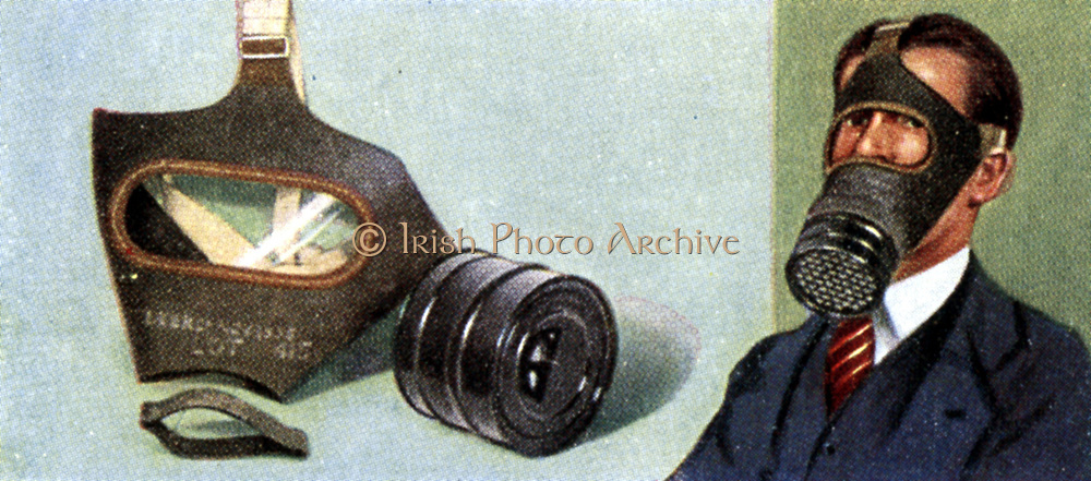 Air Raid Precautions: Set of 50 cards issued by WD & H0 Wills, Britain 1938, in preparation for the anticipated coming of World War II.  The Civilian Respirator (gasmask).  These were issued free to all members of the British public. A smaller model was provided for children, and a special one for babies.