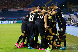 Players of GNK Dinamo Zagreb celebrate goal during football match between GNK Dinamo Zagreb, CRO and Arsenal FC, ENG in Group F of Group Stage of UEFA Champions League 2015/16, on September 16, 2015 in Stadium Maksimir, Zagreb, Croatia. Photo by Urban Urbanc / Sportida