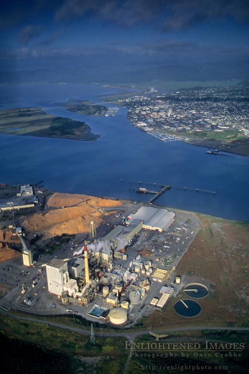 Aerial over pulp mill, Humboldt Bay, Eureka, Humboldt County, CALIFORNIA