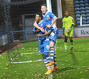 Nathaniel Mendez-Laing Hattrick during the The FA Cup match between Rochdale and Swindon Town at Spotland, Rochdale, England on 7 November 2015. Photo by Daniel Youngs.