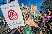 A 'mermaid' attempts to highlight the damage to the sea. The People's Climate March saw thousands of people from all angles of climate protest (from Greenpeace and Friends of the Earth to much smaller anti fracking groups) march from Holborn to Westminster in London. The march was colourful and generally peaceful.