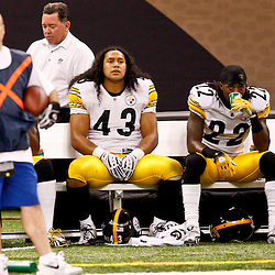 Oct 31, 2010; New Orleans, LA, USA; Pittsburgh Steelers safety Troy Polamalu (43) and cornerback William Gay (22) sit on the bench during the second half of a game against the New Orleans Saints at the Louisiana Superdome. The Saints defeated the Steelers 20-10.  Mandatory Credit: Derick E. Hingle