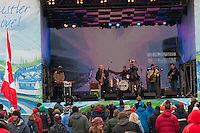 The band Galactic brings New Orleans jazz to the Whistler Village Square during the 2010 Olympic winter Games in Whistler, BC Canada.