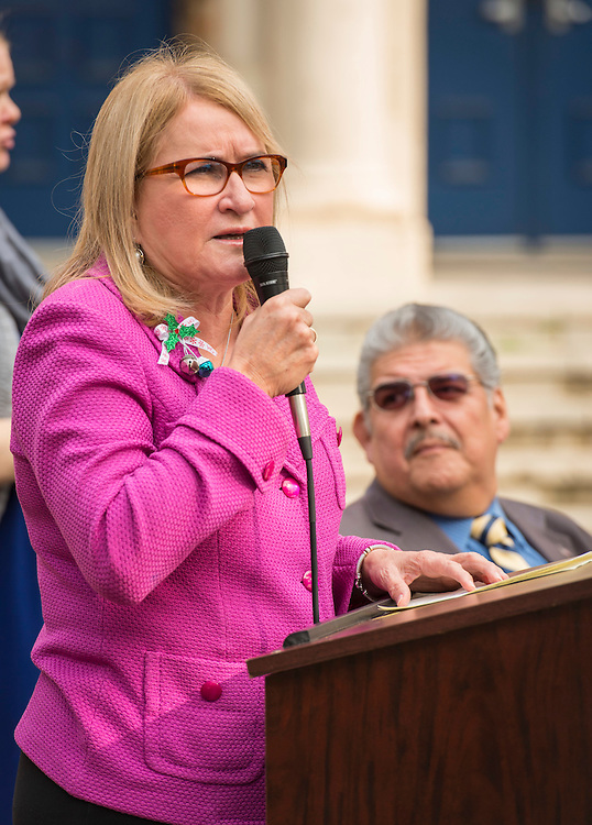 Sylvia Garcia comments during a groundbreaking ceremony at Milby High School, December 18, 2014.