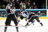 KELOWNA, CANADA, NOVEMBER 25: Max Reinhart #23 of the Kootenay Ice faces off against Zach Franko #9 of the Kelowna Rockets as the Kootenay Ice visit the Kelowna Rockets  on November 25, 2011 at Prospera Place in Kelowna, British Columbia, Canada (Photo by Marissa Baecker/Shoot the Breeze) *** Local Caption *** Max Reinhart; Zach Franko;