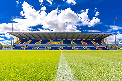 A general view of the main stand in the One Call Stadium, home to Mansfield Town - Mandatory by-line: Ryan Crockett/JMP - 28/07/2018 - FOOTBALL - One Call Stadium - Mansfield, England - Mansfield Town v Rotherham United - Pre-season friendly