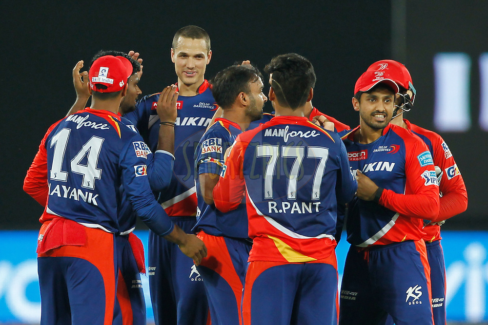 Delhi Daredevils players celebrates the wicket of Shikhar Dhawan of Sunrisers Hyderabad during match 42 of the Vivo IPL 2016 (Indian Premier League ) between the Sunrisers Hyderabad and the Delhi Daredevils held at the Rajiv Gandhi Intl. Cricket Stadium, Hyderabad on the 12th May 2016<br /> <br /> Photo by Deepak Malik / IPL/ SPORTZPICS
