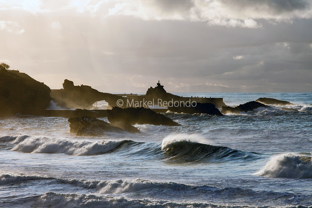 Waves at Grande Plage in Biarritz, France.