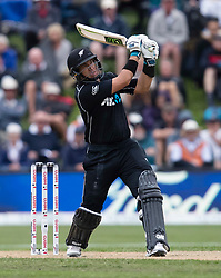 New Zealand's Ross Taylor hits a six against England in the fourth one day cricket international at the University of Otago Oval, Dunedin, New Zealand, Wednesday, March 7, 2018. Credit:SNPA / Adam Binns ** NO ARCHIVING**